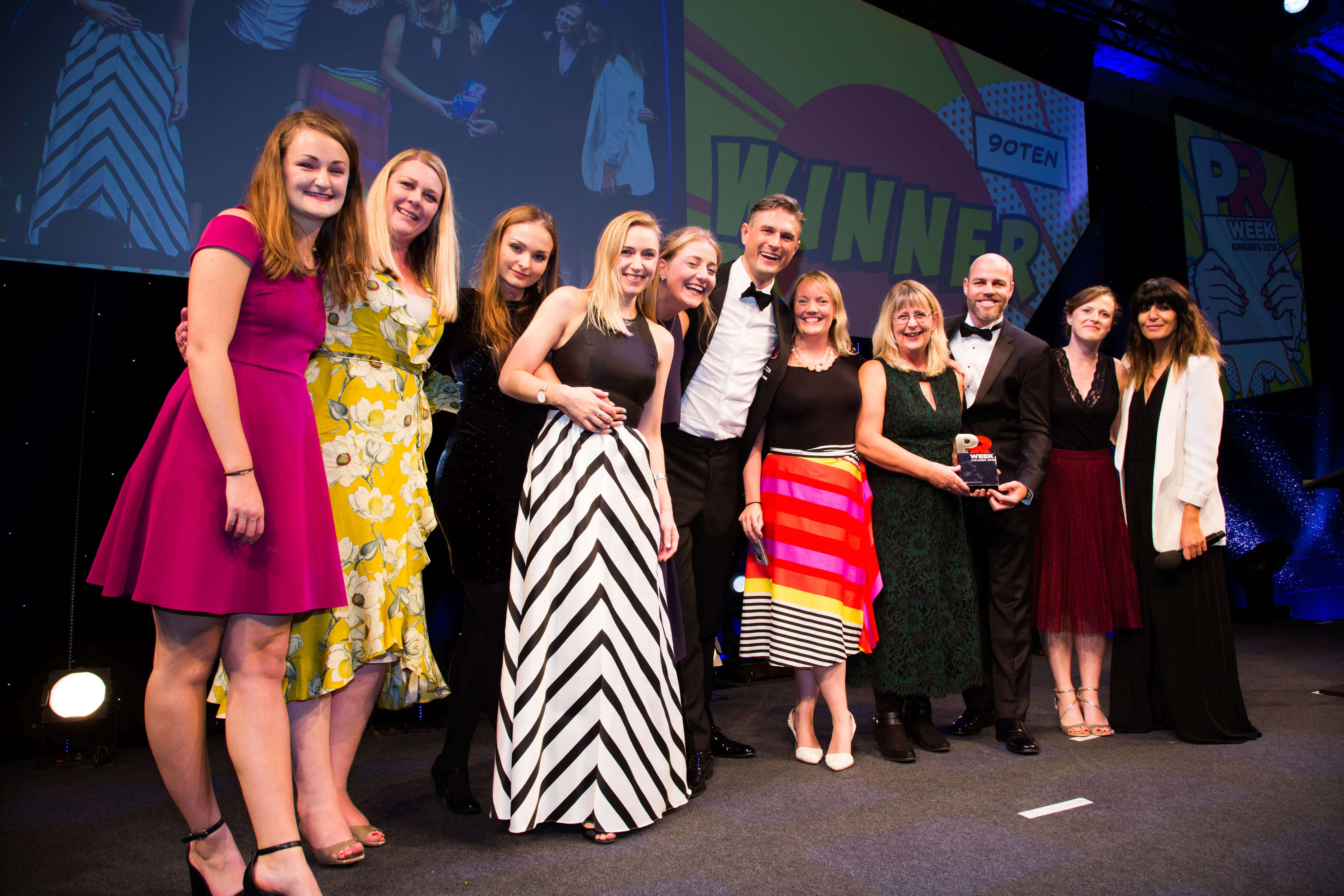90TEN wins big at PRWeek Awards taking home six accolades including Mid-Sized and Specialist Consultancy of the Year